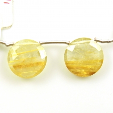 Golden Rutilated Quartz Drops Round 16x16mm Drilled Beads Matching Pair