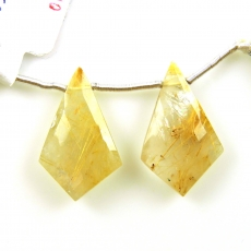 Golden Rutilated Quartz Drops Shield Shape 26x16mm Drilled Beads Matching Pair