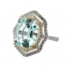 Gorgeous Pastel Blue Paraiba Tourmaline Emerald Cut 6.99 Carat with Accent Diamond Cocktail Ring In 14K Dual Tone (Yellow/ White) Gold