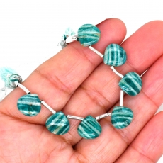 Green Amazonite Drops Heart Shape 10mm Drilled Beads 7 Pieces Line