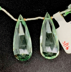 Green Amethyst  Almond Shape 27x10mm Matching Pair Drilled Beads