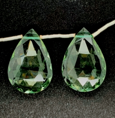 Green Amethyst Almond 22x14shape Mm Matching Pair Drilled Beads