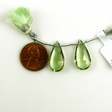 Green Amethyst Almond Shape 20x11mm Drilled Beads Matching Pair