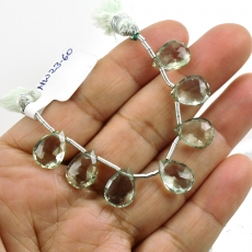 Green Amethyst Drops Almond Shape 13x9mm Drilled Beads 7 Pieces Line