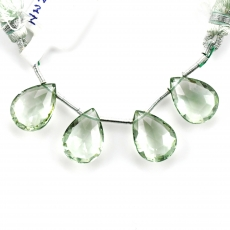 Green Amethyst Drops Almond Shape 15x10mm Drilled Beads 4 Pieces Line