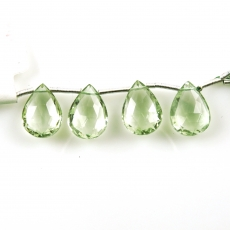 Green Amethyst Drops Almond Shape 15x11mm Drilled Beads 4 Pieces Line