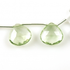 Green Amethyst Drops Heart Shape 15x15mm Drilled Beads Matching Pair