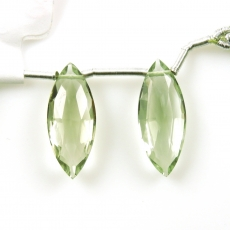 Green Amethyst Drops Marquise Shape 20x8mm Drilled Beads Matching Pair
