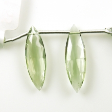 Green Amethyst Drops Marquise Shape 24x8mm Drilled Beads Matching Pair