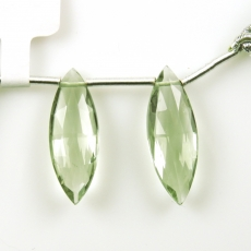Green Amethyst Drops Marquise Shape 26x8mm Drilled Beads Matching Pair