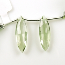 Green Amethyst Drops Marquise Shape 27x8mm Drilled Beads Matching Pair