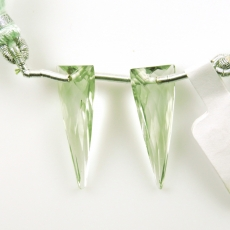 Green Amethyst Drops Trillion Shape 23x10mm Front To Back Drilled Beads Matching Pair