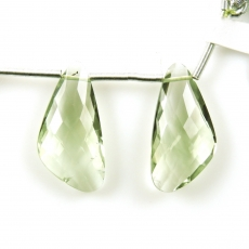 Green Amethyst Drops Wing Shape 22x11mm Drilled Beads Matching Pair