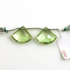 Green Amethyst Fan Shape 17x15 Mm Drilled Beads Matching Pair