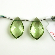 Green Amethyst Leaf Shape 22x12mm Drilled Beads Matching Pair