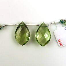 Green Amethyst Leaf Shape 23x15mm Drilled Beads Matching Pair