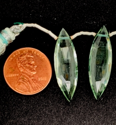 Green Amethyst Marquise  Shape 27x7mm Matching Pair Drilled Beads
