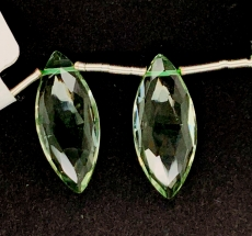 Green Amethyst Marquise Shape 21x8mm Matching Pair Drilled Beads