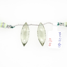 Green Amethyst Marquise Shape 25x10mm Drilled Beads Matching Pair