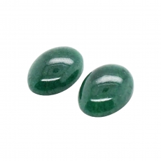 Green Aventurine Cab Oval 16x12mm Matching Pair Approximately 16.5 Carat