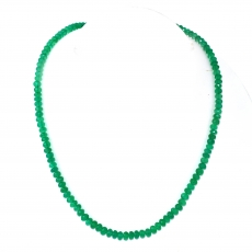 Green Onyx Drops Roundelle Shape 6mm To 5mm Accent Bead Ready To Wear Neclace