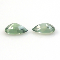 Green Sapphire 1.69 Carat Pear Shape 7x5mm Matched Pair