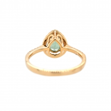 Green Sapphire Pear Shape 0.81 Carat Ring With Diamond Accent in 14K Yellow Gold