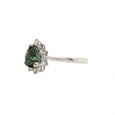 Green Sapphire Pear Shape 0.86 Carat Ring With Diamond Accent in 14K White Gold