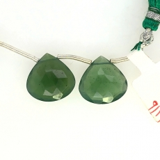 Green Serpentine Drops Heart Shape 15x15mm Drilled Beads Matching Pair