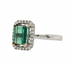 Green Tourmaline Emerald Cut 1.90 Carat Ring With Diamond Accent in 14K White Gold