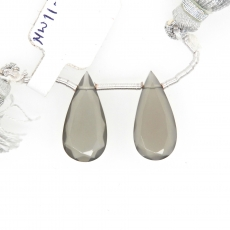 Grey Moonstone Drops Almond Shape 20x10mm Drilled Beads Matching Pair