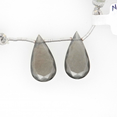 Grey Moonstone Drops Almond Shape 22x12mm Drilled Beads Matching Pair