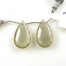 Grey Moonstone Drops Almond Shape 25x15mm Drilled Beads Matching Pair