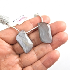 Grey Moonstone Drops Fancy Shape 27x14mm Drilled Beads Matching Pair