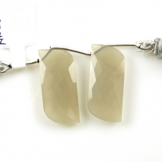 Grey Moonstone Drops Fancy Shape 28x12mm Drilled Beads Matching Pair