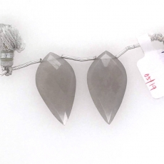 Grey Moonstone Drops Leaf Shape 30x16mm Drilled Beads Matching Pair