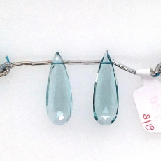 Hydro Aquamarine Drops Almond Shape 26x9mm Drilled Beads Matching Pair