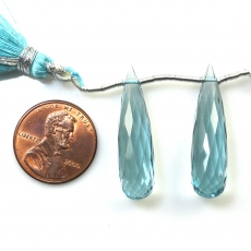 Hydro Aquamarine Drops Briolette Shape 30x8mm Drilled Bead Matching Pair