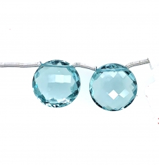 Hydro Aquamarine Drops Coin Shape 15mm Drilled Beads Matching Pair