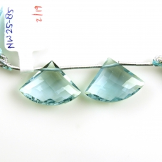 Hydro Aquamarine Drops Fan Shape 18x13mm Drilled Beads Matching Pair