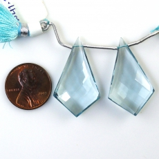 Hydro Aquamarine Drops Shield Shape 32x19mm Drilled Beads Matching Pair
