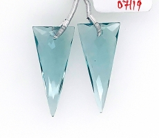 Hydro Aquamarine Drops Trillion Shape 28x13mm Drilled Beads Matching Pair