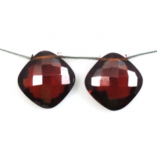 Hydro Garnet Drop  Cushion Shape  Drilled Bead Matching Pair