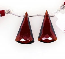 Hydro Garnet Drop Conical Shape 27x15mm Drilled Bead Matching Pair