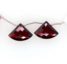 Hydro Garnet Drop Fan Shape 18x13mm Drilled Bead Matching Pair