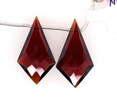 Hydro Garnet Drop Shield Shape 27x15mm Drilled Bead Matching Pair