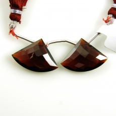 Hydro Garnet Drops Fan Shape 24x17mm Drilled Beads Matching Pair