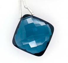 Hydro London Blue Quartz Drop Cushion Shape 18x18mm Drilled Bead Single Pendant Piece