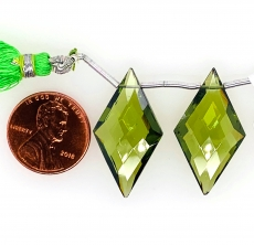 Hydro Peridot Drops Quartz Kite Shape 28x9mm Drilled Beads Matching Pair