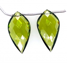 Hydro Peridot Drops Quartz Leaf Shape 28x9mm Drilled Beads Matching Pair